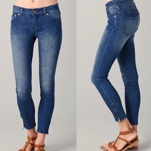 Free People dark wash skinny jeans zipper ankle